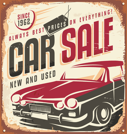 Car sale vintage sign Çizim