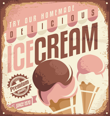 alimentos congelados: Helado retro cartel de chapa concepto de diseño Vectores