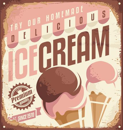 frozen food: Retro ice cream tin sign design concept Illustration