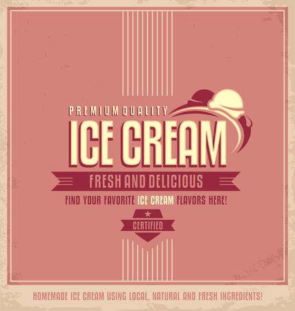 helados: Cartel promocional de helado de la vendimia