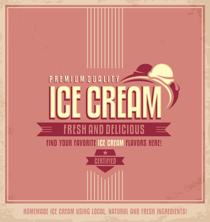 Vintage plakat reklamowy lodów