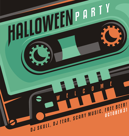 Halloween party - creative design concept with skull shape made as a part of music cassette tape. Vector