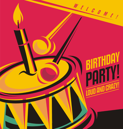 Birthday party invitation template with unique creative concept