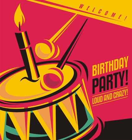 Plantilla de invitación de la fiesta de cumpleaños con el concepto creativo único