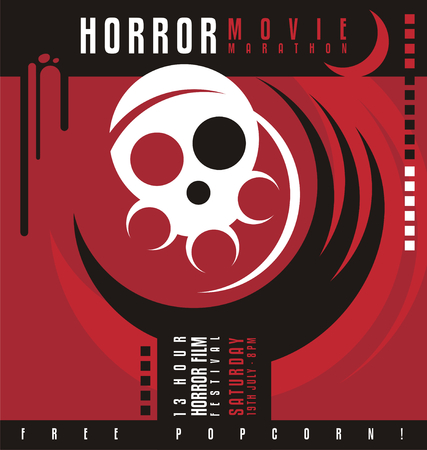Horror movie marathon or horror film festival flat poster design  イラスト・ベクター素材