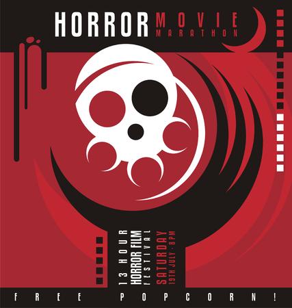 Horror movie marathon or horror film festival flat poster design Illustration
