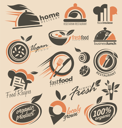 Set of food icons, signs, symbols and designs Illustration