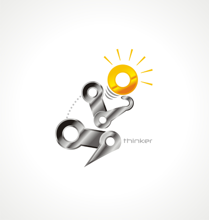 Creative and unique design concept with mechanical thinker. Vector