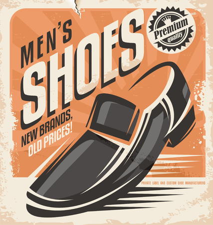 Men shoes retro poster design concept Vector