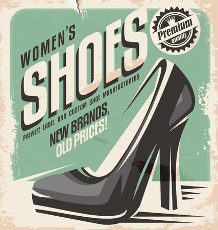 60s fashion: Retro shoes store promotional poster design Illustration
