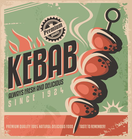 skewer: Kebab retro poster design concept Illustration