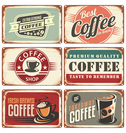 Set of vintage coffee tin signs Illusztráció