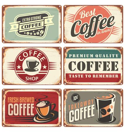Set of vintage coffee tin signs Illustration