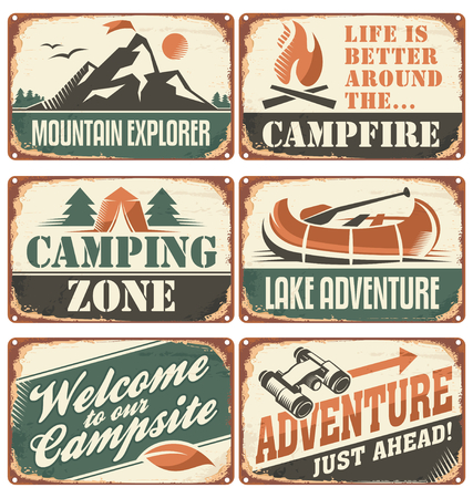 lagos: Conjunto de la vendimia al aire libre signos de campamentos y plantillas de carteles.