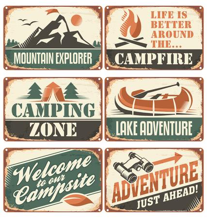 jezior: Zestaw rocznika zewnątrz znaki camp i szablony plakat.
