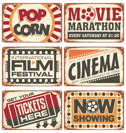 palomitas de maiz: Conjunto de signos met�licos de cine de �poca Vectores
