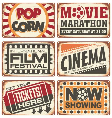 Set van vintage cinema metalen borden Stock Illustratie