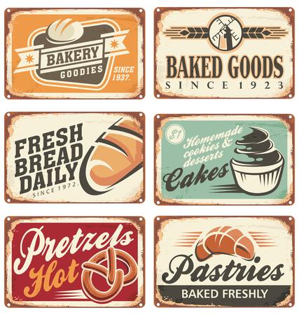 Het verzamelen van vintage vector bakkerij tekenen Stock Illustratie