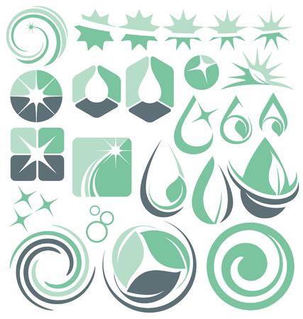 dienstverlening: Set van minimalistische schoonmaak logo ontwerpen Stock Illustratie