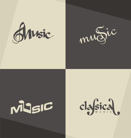 Unique and minimalistic classical music logo design concepts Illustration
