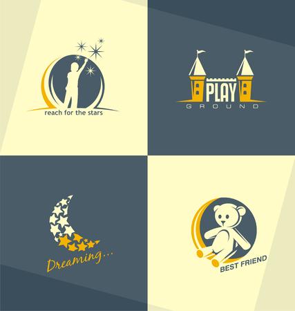 luna caricatura: Hijos únicos y minimalistas logo conceptos de diseño