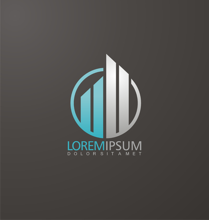 logo: icon design with commercial building and chart bars Illustration