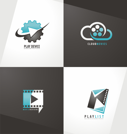 Movie logo ontwerp sjabloon collectie Stock Illustratie