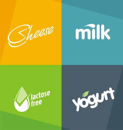 dairy: Молочные продукты логотипов шаблоны.