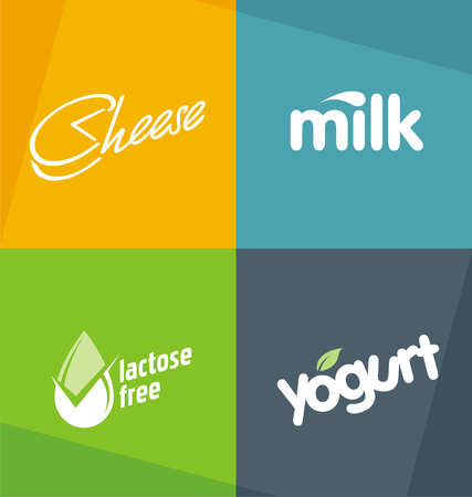 typo: Dairy products logo designs templates.