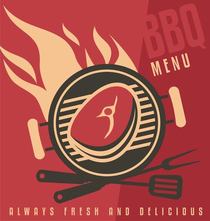 Barbecue ad flat design concept.
