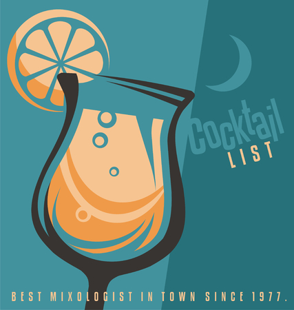 lounge bar: Cocktail list cover document template. Illustration