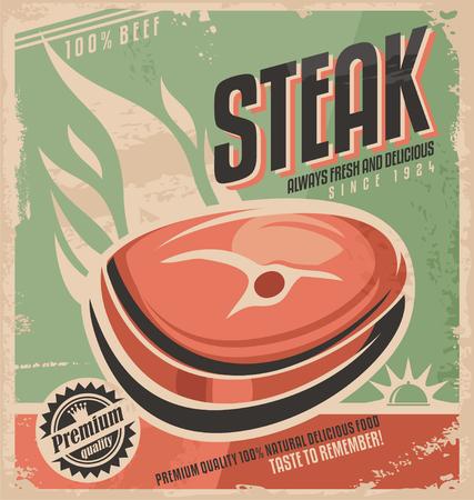 Steak retro poster design