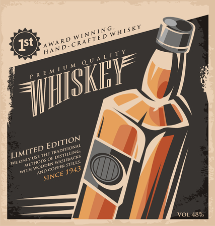 alcool: Mod�le de conception vintage d'affiche Whiskey Illustration