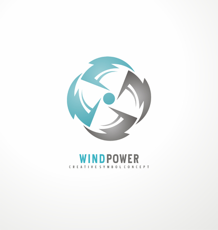 Circle thunder symbols with fan in negative space