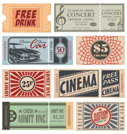 cinema ticket: Retro Tickets and Coupons Illustration