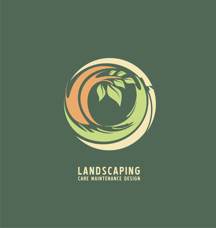 landscaping: Abstract illustration with tree in the circle Illustration