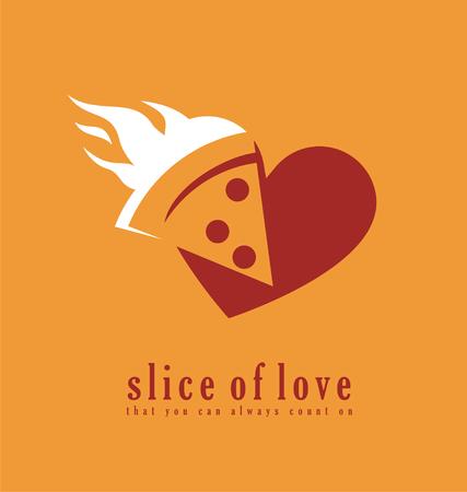 fire heart: Pizzeria symbol creative concept