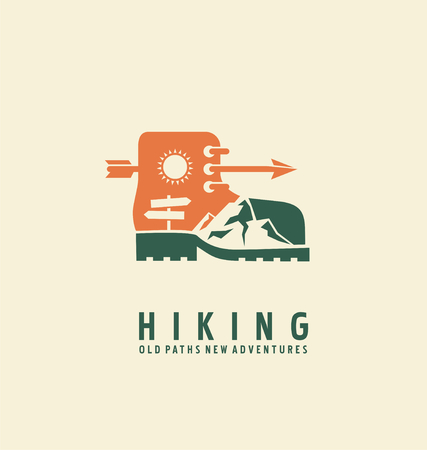 hiking boots: Adventure symbol vector concept
