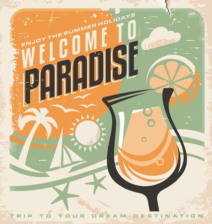 agencia de viajes: Plantilla del cartel retro de agencia de viajes Vectores