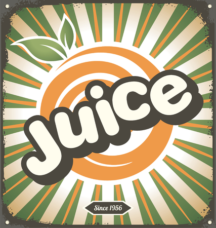 Juice retro tin sign design Vector