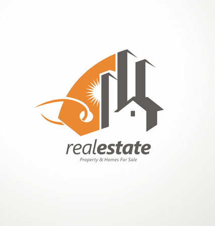 real estate icons: Creative symbol design for real estate company Illustration