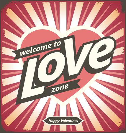 Valentines day vintage tin sign design concept Illustration