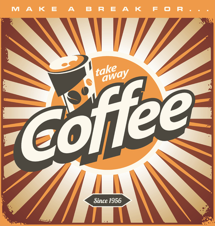 Retro coffee shop design concept on old metal background