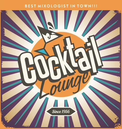 Retro Blechschild Design für Cocktail-Lounge
