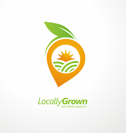 Locally grown food from local farmers label template Illustration