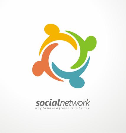 Freunde Konzept sozialen Netzwerk-Symbol Standard-Bild - 35839884
