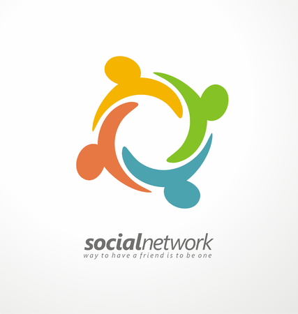 business partnership: Friends concept social network icon
