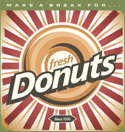 Retro Donuts Poster Vector