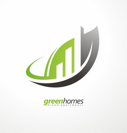logo batiment: Forme des feuilles avec des bâtiments dans l'espace négatif