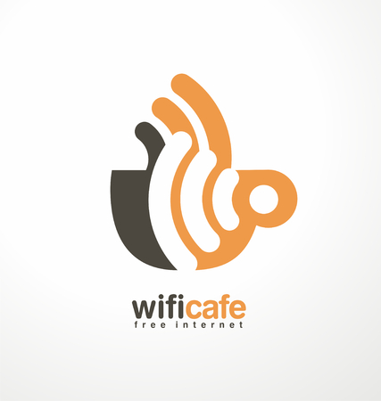 Coffee cup with WiFi sign in negative space Vector